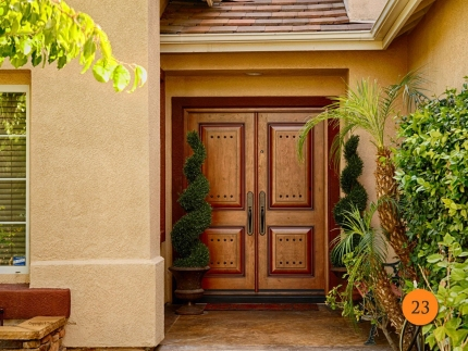 23-front-entry-door-rustic-double-2-30x80-5-foot-wide-fiberglass-jeld-wen-a1202-knotty-alder-stained-cashmere-antiqued-clavos-anaheim-
