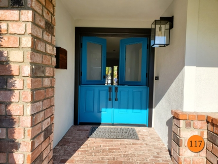 117-masonite-fiberglass-double-dutch-entry-door-60x80-satin-etch-privacy-glass-smooth-skin-factory-painted-rare-turquoise-clearview-top-down-retractable-screen-in-dana-point-ca