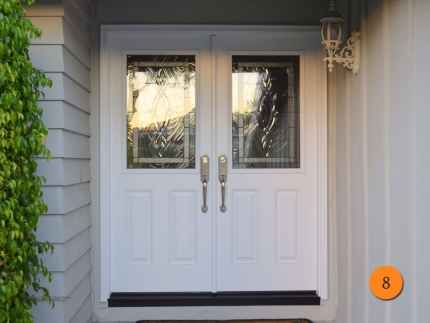 8-front-entry-door-modern-contemporary-double-2-30x80-5-foot-wide-fiberglass-plastpro-drs41-smooth-painted-white-half-lite-brentwood-g