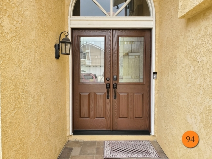 94-60x80-masonite-fiberglass-double-entry-door-harlow-glass-with-antique-black-caming-oak-grain-factory-stained-antique-oak-installed-in-laguna-hills-ca