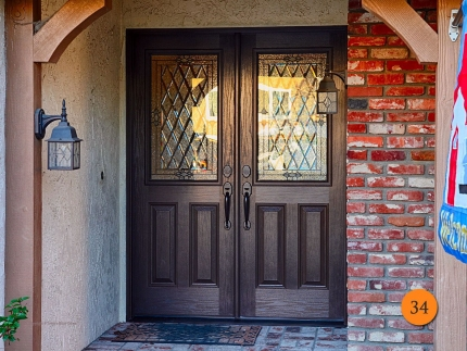 34-front-entry-door-classic-traditional-double-2-30x80-5-foot-wide-fiberglass-plastpro-drg60-oak-stained-walnut-half-lite-cantebury-gl