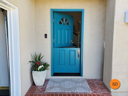 80-36x80-masonite-fiberglass-dutch-entry-door-smooth-skin-factory-painted-teal-fury-installed-in-seal-beach-ca