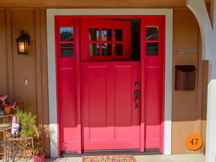 47-front-entry-door-craftsman-dutch-single-36x80-5-foot-wide-2-sidelights-fiberglass-plastpro-drs3cg000-smooth-painted-scarlet-past-red-6-lite-clear-glass-placentia-ca-langford