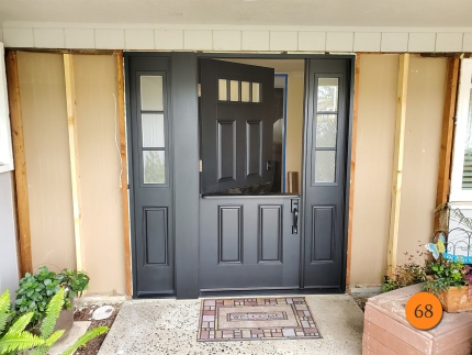 68-masonite-fiberglass-dutch-entry-door-system-with-operable-sidelight-satin-etch-privacy-glass-with-sdl-bars-smooth-skin-factory-painted-black-installed-in-north-tustin-ca