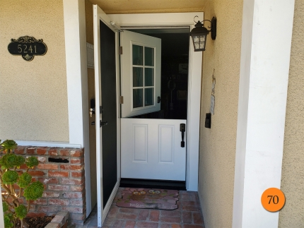 70-36x80-masonite-fiberglass-dutch-entry-door-6lite-sdl-with-clear-glass-smooth-skin-factory-painted-white-provia-duraguard-screen-installed-in-garden-grove-ca