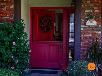 72-42x80-dutch-door-with-shelf-sidelight-5-foot-wide-entrance-plastpro-fiberglass-drm41-mahogany-painted-attar-of-rose-red-clear-glass-lake-forest-arrin