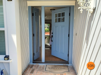 108-craftsman-36x80-fiberglass-entry-door-with-operable-sidelight-6-lite-sdl-with-chincilla-privacy-glass-smooth-skin-factory-painted-smoky-blue-in-huntington-beach-ca