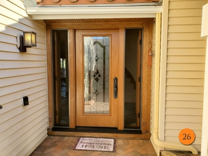 26-therma-tru-fc6095-fiberglass-entry-door-system-with-operable-sidelights-concorde-glass-with-black-nickel-caming-oak-grain-factory-stained-rustic-clay-in-mission-viejo-ca