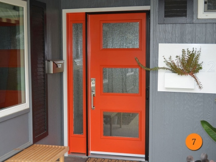 7-front-entry-door-modern-contemporary-single-1-sidelights-fiberglass-therma-tru-Ari-s2xr-smooth-painted-orange-3-lite-rain-glass-sant