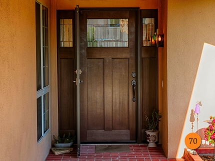 70-craftsman-single-entry-door-2-sidelights-fiberglass-plastpro-drf3csolp-fir-stained-walnut-solstice-glass-patina-caming-provia-durag