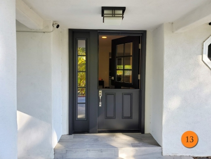 13-36x80-masonite-fiberglass-dutch-entry-door-with-sidelight-clear-glass-with-sdl-bars-smooth-skin-factory-painted-black-installed-in-tustin-ca