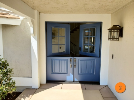 2-masonite-fiberglass-double-dutch-entry-door-6-lite-sdl-with-clear-glass-smooth-skin-factory-painted-blue-installed-in-yorba-linda-ca