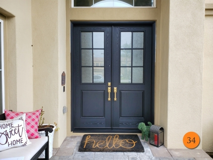 34-8-foot-tall-masonite-fiberglass-double-entry-door-6-lite-sdl-with-granite-privacy-glass-oak-grain-factory-painted-black-installed-in-coto-de-caza-ca