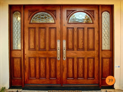 39-72x80-double-entry-doors-with-2-sidelights-fiberglass-jeld-wen-a402-oak-stained-chappo-half-c-glass-patina-caming-irvine-ishimine