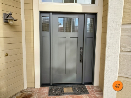 47-craftsman-fiberglass-entry-door-system-with-sidelights-therma-tru-s4813xg-geometric-privacy-glass-smooth-skin-factory-painted-thunder-installed-in-trabuco-canyon-ca