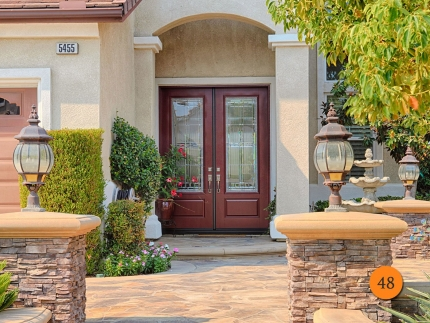 48-double-2-30x96-5-foot-wide-8-foot-tall-fiberglass-entry-door-therma-tru-s891-smooth-painted-cranberry-half-lite-glass-brushed-nicke