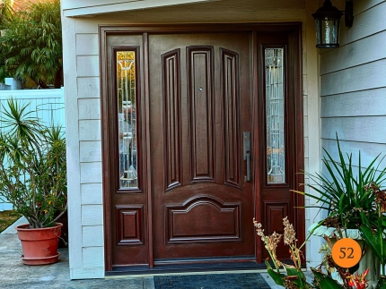 52-single-36x80-mahogany-entry-door-with-2-sidelights-fiberglass-jeld-wen-aurora-a465-stained-dark-cherry-l-glass-polished-zinc-caming
