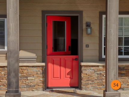 54-front-entry-door-dutch-single-36x80-36-inch-wide-fiberglass-plastpro-drs12c-smooth-painted-hott-jazz-red-half-lite-clear-glass-hunt