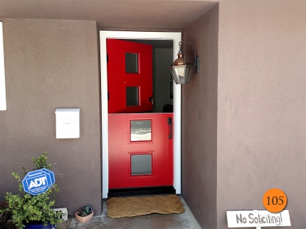 105-contemporary-36x80-fiberglass-dutch-entry-door-frosted-privacy-glass-smooth-skin-factory-painted-red-contrast-installed-in-fountain-valley-ca