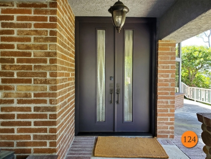 124-modern-64x96-therma-tru-fiberglass-double-entry-door-chinchilla-privacy-glass-smooth-skin-factory-painted-black-installed-in-trabuco-canyon-ca