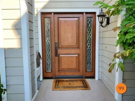 99-jeld-wen-aurora-a1202-fiberglass-entry-door-with-sidelights-custom-diamond-glass-with-polished-zinc-caming-knotty-alder-grain-with-antiquing-in-mission-viejo-ca