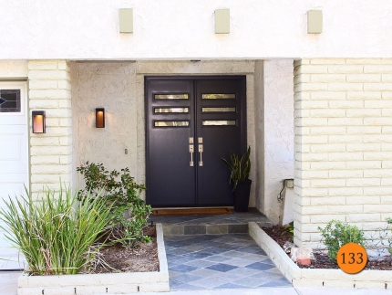 133-front-entry-door-modern-contemporary-double-2-30x80-60x80-fiberglass-plastpro-drs00-smooth-painted-black-bay-3-lite-frosted-glass-