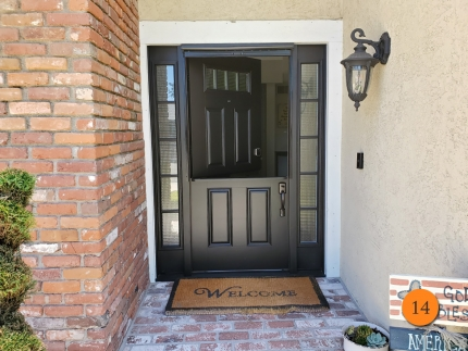 14-masonite-fiberglass-dutch-entry-door-system-with-sdl-bars-smooth-skin-factory-painted-black-clearview-top-down-retractable-screen-installed-in-yorba-linda-ca