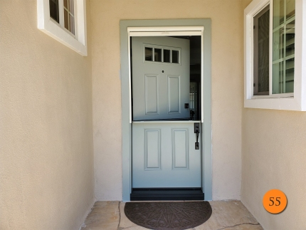 55-36x80-masonite-fiberglass-dutch-entry-door-4-lite-sdl-with-clear-glass-smooth-skin-factory-painted-pebble-walk-clearview-top-down-retractable-screen-installed-in-orange-ca