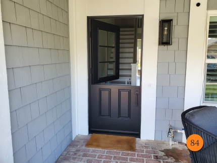 84-36x80-masonite-fiberglass-dutch-entry-door-6-lite-sdl-with-clear-glass-smooth-skin-factory-painted-black-installed-in-dana-point-ca