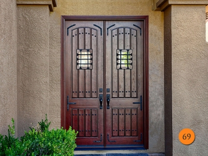 69-8-foot-tall-knotty-alder-rustic-double-entry-doors-jeld-wen-aurora-a-1322-antiqued-distressed-clavos-speakeasy-wrought-iron-grille-
