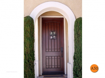 A50-mahogany-skin-8-foot-tall-rustic-entry-door-36x96-fiberglass-jeld-wen-aurora-a1322-clavos-speakeasy-wrought-iron-grille-mission-vi