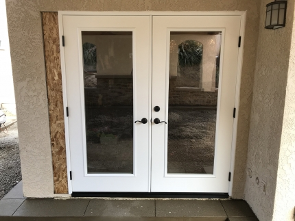 72x80-fiberglass-double-side-entry-door-clear-glass-smooth-skin-factory-painted-white-installed-in-trabuco-canyon-ca