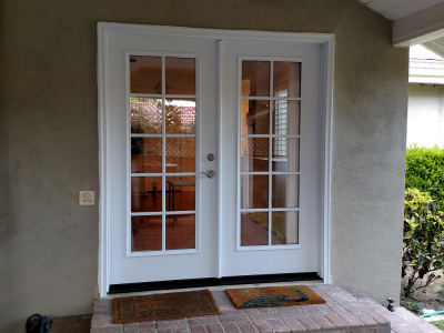 fiberglass-double-side-entry-door-10-lite-sdl-with-clear-glass-smooth-skin-factory-painted-white-installed-in-arcadia-ca