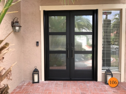 106-modern-60x80-fiberglass-double-entry-door-therma-tru-s2000xc-chord-privacy-glass-smooth-skin-factory-painted-inkwell-clearview-retractable-screens-installed-in-laguna-niguel-ca