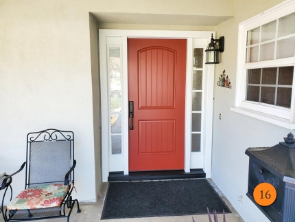 16-therma-tru-fiberglass-entry-door-system-with-sidelights-5-lite-sdl-granite-privacy-glass-smooth-skin-factory-painted-cordovan-door-classic-white-sidelights-in-riverside-ca