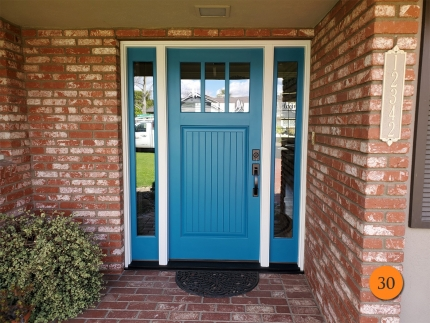 30-therma-tru-ccv930-fiberglass-entry-door-with-sidelights-clear-glass-with-low-e-smooth-skin-factory-painted-blue-nile-installed-in-santa-ana-ca