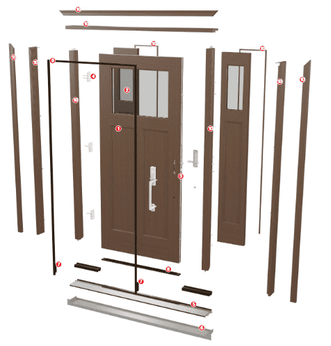 illustration showing how all door parts come together for noise reduction and energy efficiency