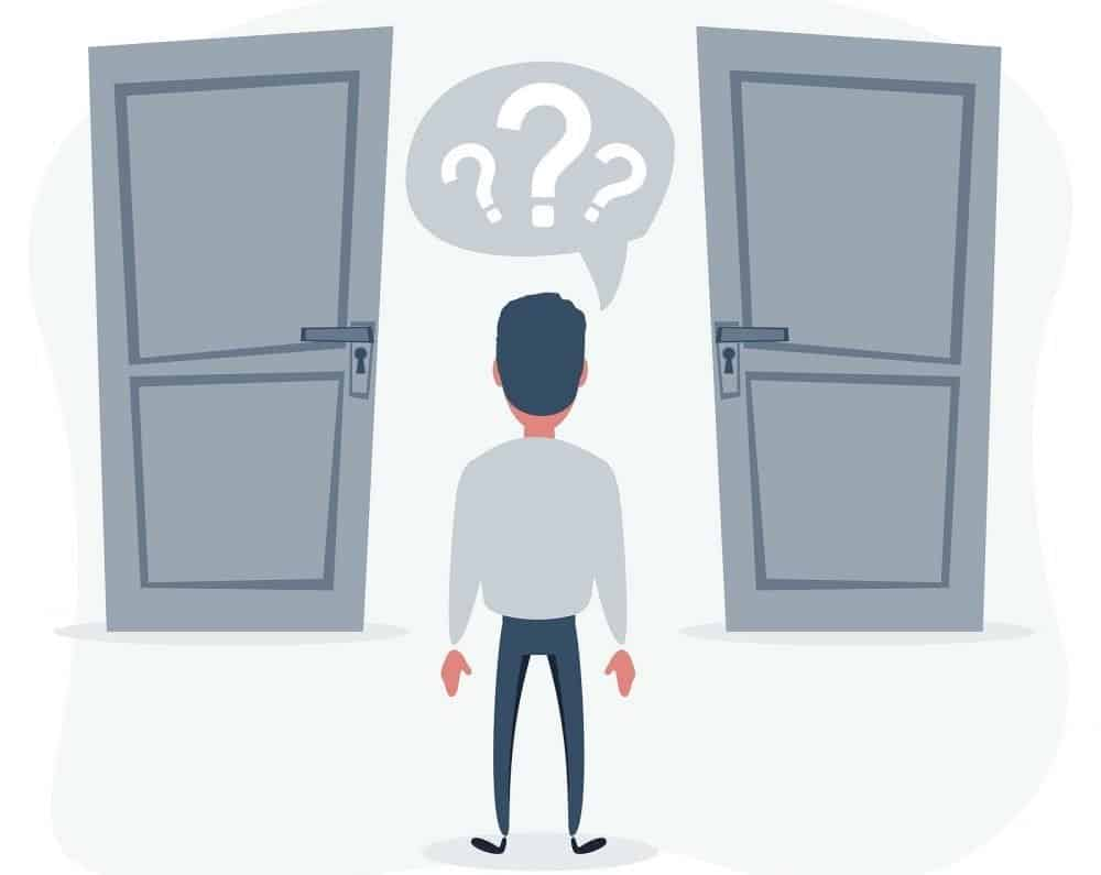 Two doors, man is unable to make the right decision about getting a brickmold door for home