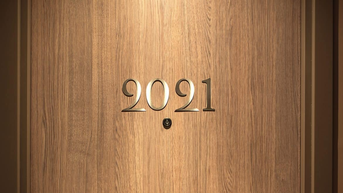 2021 lettering on a wood door