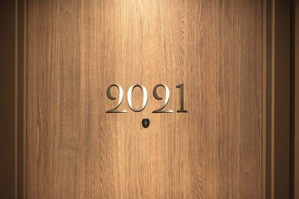 2021 lettering on a wood door