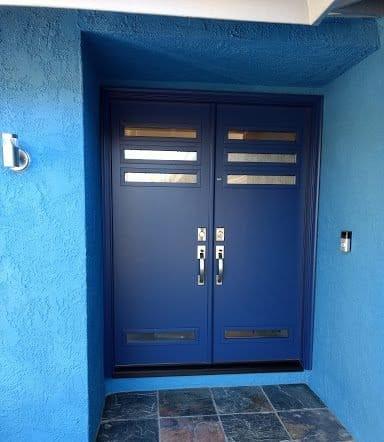 blue contemporary entry door