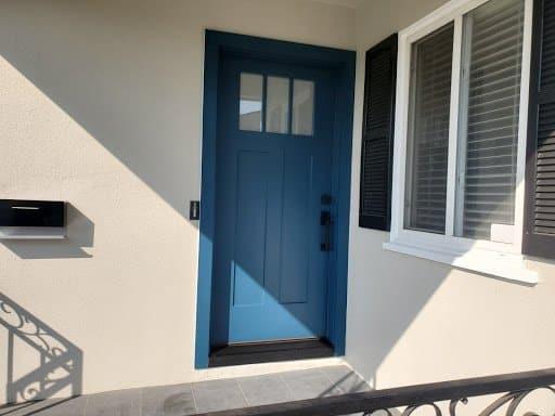 blue elegant craftsman entry door