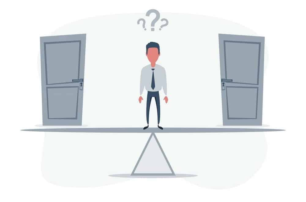 illustration of two doors with a guy who is unable to make a decision