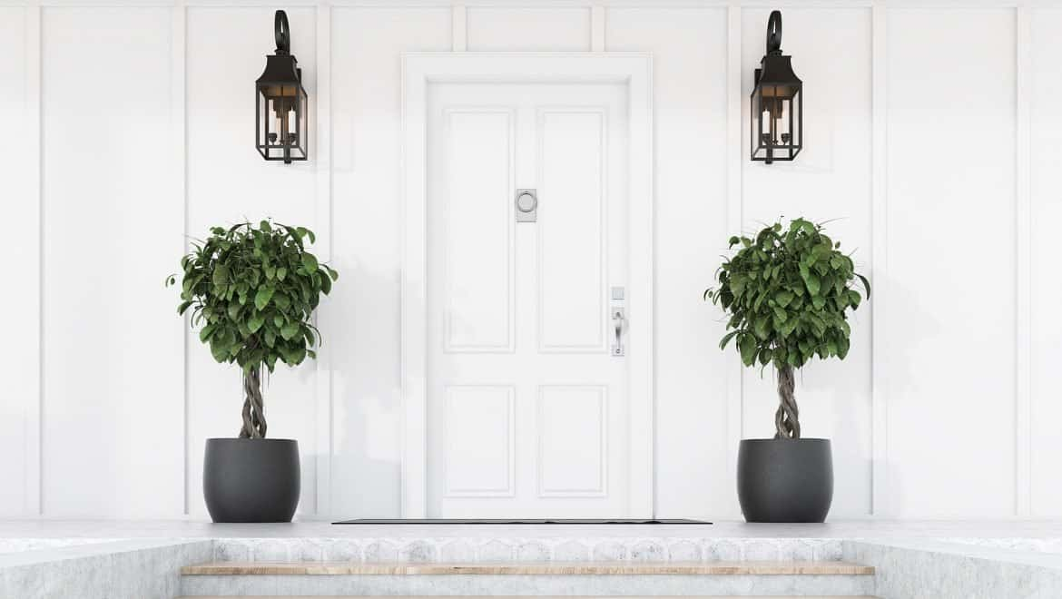 view of stylish white front door of modern house