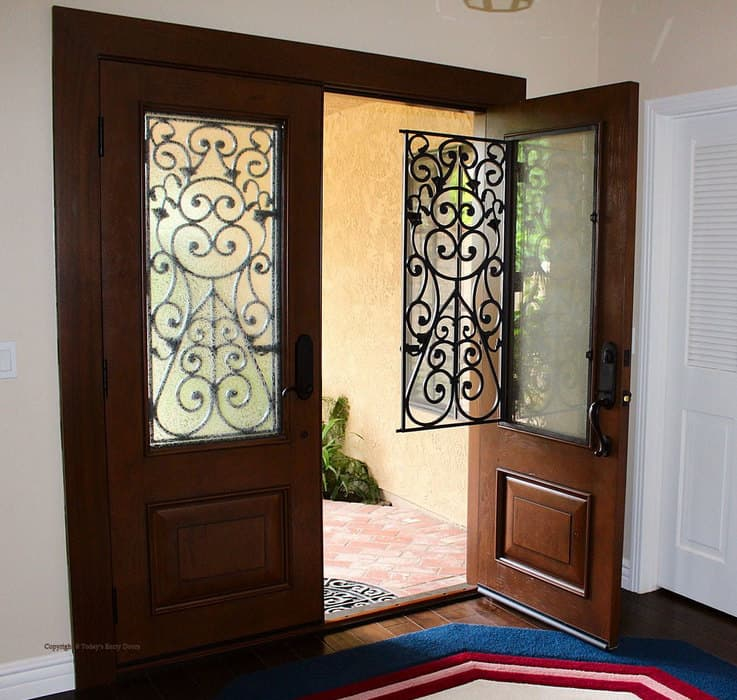 example of a wrought iron fiberglass entry door