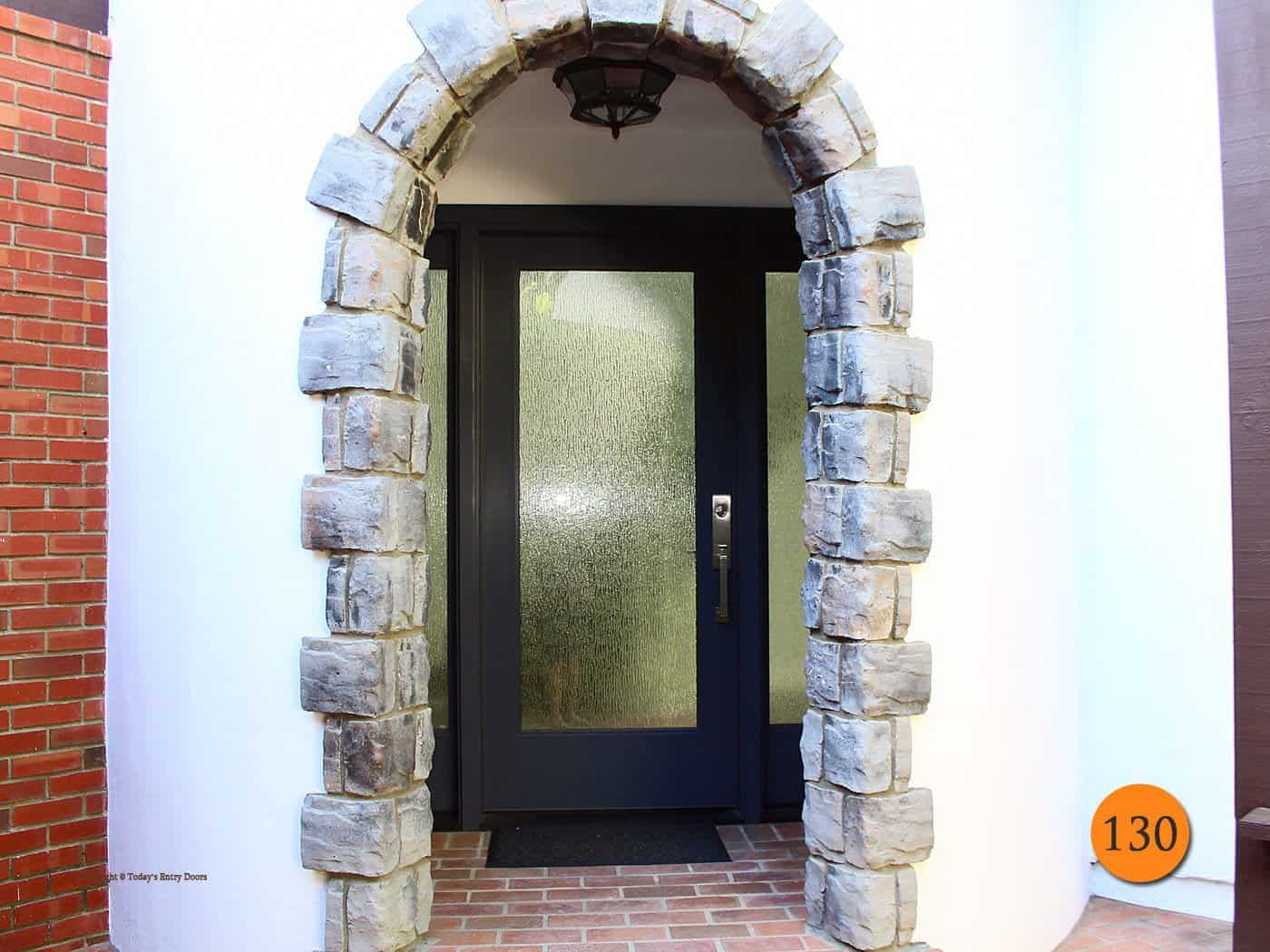 This is an image of a custom front door, with beautiful high-privacy glass, installed in the Orange County, California area by Today's Entry Doors.
