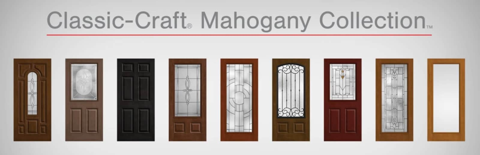 Classic Craft Mahogany Grain Doors With Privacy Glass