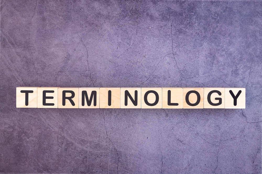 wooden blocks spelling the word terminology