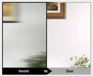 Example of the difference between reeded and clear glass for door privacy