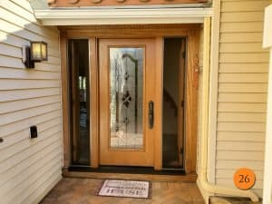 stained door with sidelights